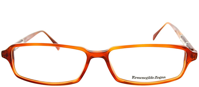 Ermenegildo Zegna VZ 3500 0711 Amber Brown Rectangle Plastic Eyeglasses