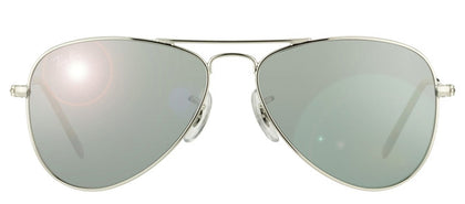Ray-Ban Jr RJ 9506 Aviator Metal Sunglasses - Shiny Silver with Silver Mirror Lens