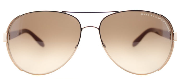 Marc By Marc Jacobs MMJ 378 Aviator Metal Sunglasses - Gold And Red with Brown Gradient Lens