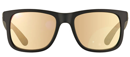 Ray-Ban Justin RB 4165 Square Rubber Sunglasses - Black Rubber with Gold Mirror Lens
