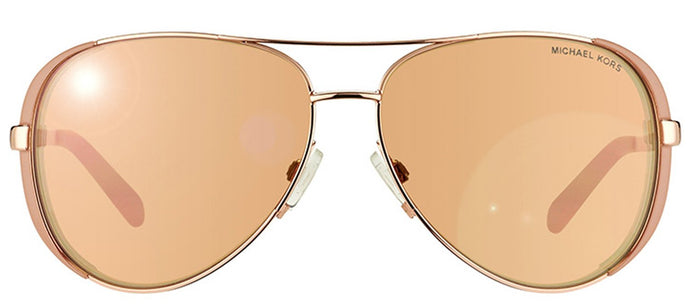 Michael Kors Chelsea MK 5004 Aviator Metal Sunglasses - Rose Gold And Toupe with Rose Gold Mirror Lens