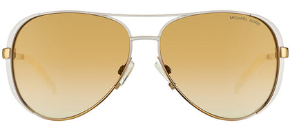 Michael Kors Chelsea MK 5004 Aviator Metal Sunglasses - White And Gold Fade with Gold Mirror Lens