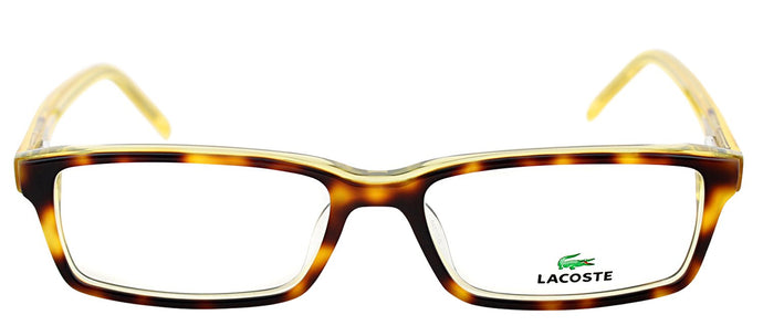 Lacoste LA 2614 Rectangle Metal Eyeglasses - Tortoise with Transparent Yellow