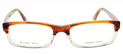 Giorgio Armani GA 765 Rectangle Metal Eyeglasses - Light Havana
