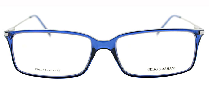 Giorgio Armani GA 636 Rectangle Metal Eyeglasses - Blue