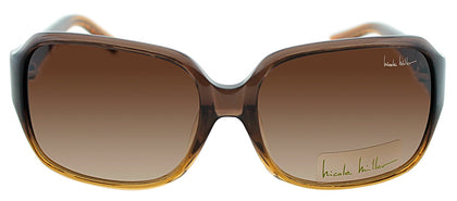 Nicole Miller NM Stanton Rectangle Metal Sunglasses - Amber Brown with Brown Gradient Lens