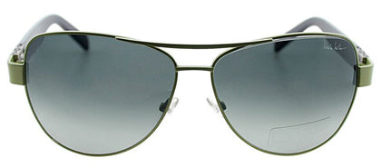 Nicole Miller NM Stone Aviator Metal Sunglasses - Green And Eggplant with Green Gradient Lens