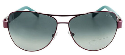 Nicole Miller NM Stone Aviator Metal Sunglasses - Pink and Green with Green Gradient Lens