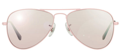Ray-Ban Jr RJ 9506 Aviator Metal Sunglasses - Pink with Pink Mirror Lens