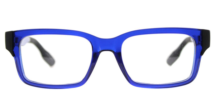 McQ MQ 0016O Rectangle Plastic Eyeglasses - Transparent Blue