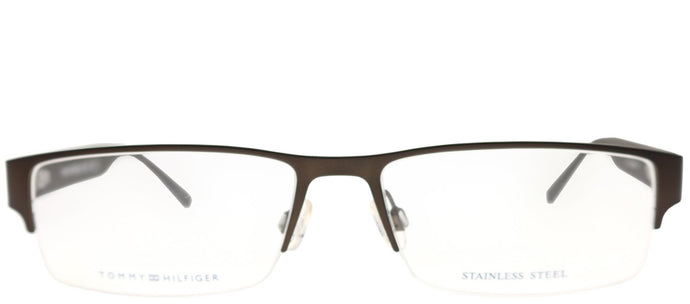 Tommy Hilfiger TH 1236 A9G Matte Brown Semi-Rimless Metal Eyeglasses
