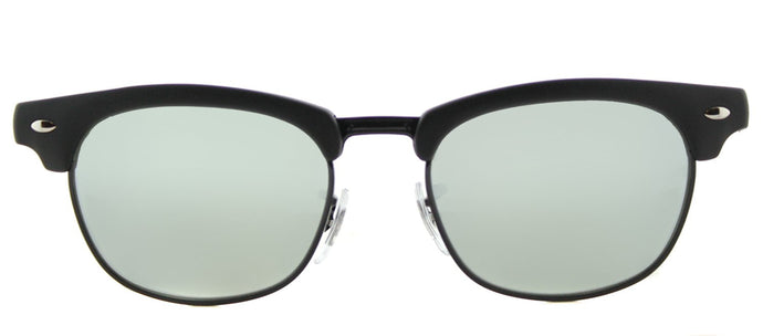 Ray-Ban Jr RJ 9050 Clubmaster Plastic Sunglasses - Matte Black with Grey Flash Mirror Lens