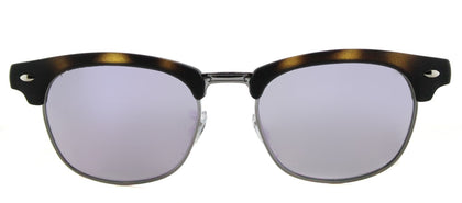 Ray-Ban Jr RJ 9050 Clubmaster Plastic Sunglasses - Matte Havana with Purple Flash Mirror Lens