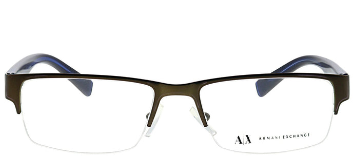 Armani Exchange AX 1015 6069 Satin Brown Rectangle Metal Eyeglasses