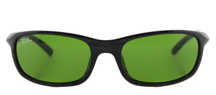 Ray-Ban Jr RJ 9056 Sport Plastic Sunglasses - Shiny Black with Green Lens