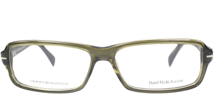 Tommy Hilfiger TH 1034 Rectangle Plastic Eyeglasses - Transparent Olive
