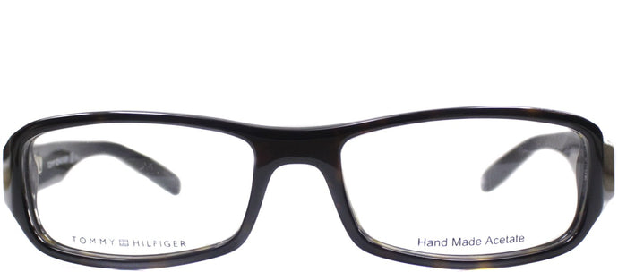 Tommy Hilfiger TH 1019 Rectangle Plastic Eyeglasses - Dark Havana And Black