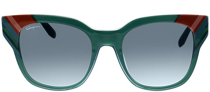 Salvatore Ferragamo SF 875 303 Opaline Green Square Plastic Sunglasses