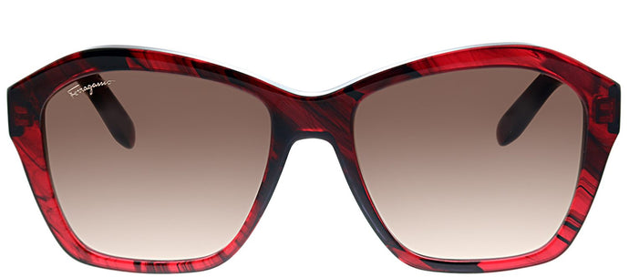 Salvatore Ferragamo SF 894 645 Transparent Red Rectangle Plastic Sunglasses