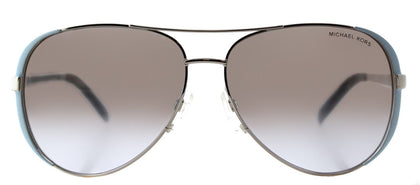 Michael Kors Chelsea MK 5004 Aviator Metal Sunglasses - Periwinkle Silver with Silver Gradient Mirrored Lens