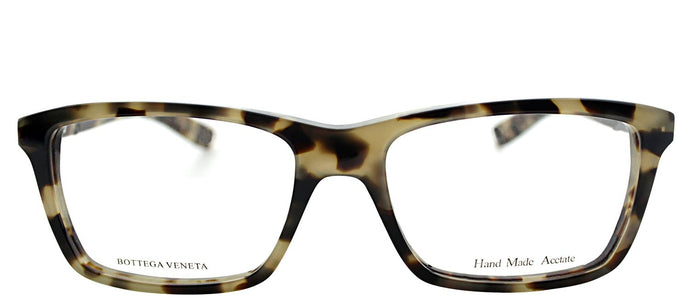 Bottega Veneta BV 207 Rectangle Plastic Eyeglasses - Light Havana