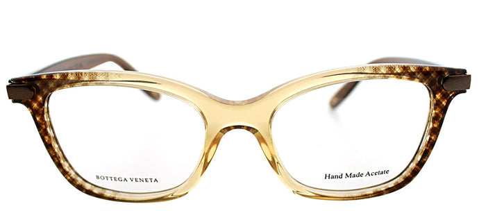 Bottega Veneta BV 223 Cat-Eye Plastic Eyeglasses - Amber