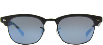 Ray-Ban Jr RJ 9050 Clubmaster Plastic Sunglasses - Matte Black with Blue Mirror Lens
