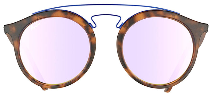 Ray-Ban RB 4256 Fashion Plastic Sunglasses - Matte Havana with Lilac Mirrored Gradient Lens