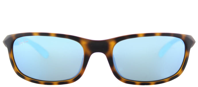 Ray-Ban Jr RJ 9056 Sport Plastic Sunglasses - Matte Havana with Blue Flash Mirror Lens