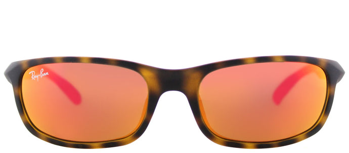 Ray-Ban Jr RJ 9056 Sport Plastic Sunglasses - Matte Havana with Orange Flash Mirror Lens
