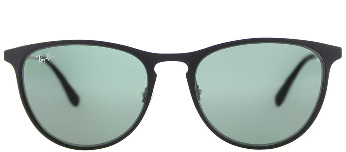 Ray-Ban RJ 9538 Square Metal Sunglasses - Rubber Black with Green Lens