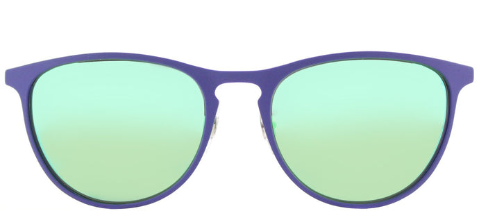 Ray-Ban RJ 9538 Square Metal Sunglasses - Rubber Blue with Green Flash Mirror Lens