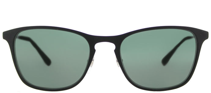 Ray-Ban RJ 9539 Square Metal Sunglasses - Rubber Black with Green Lens