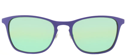 Ray-Ban RJ 9539 Square Metal Sunglasses - Rubber Blue with Green Flash Mirror Lens