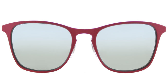 Ray-Ban RJ 9539 Square Metal Sunglasses - Rubber Fuxia with Grey Flash Mirror Lens