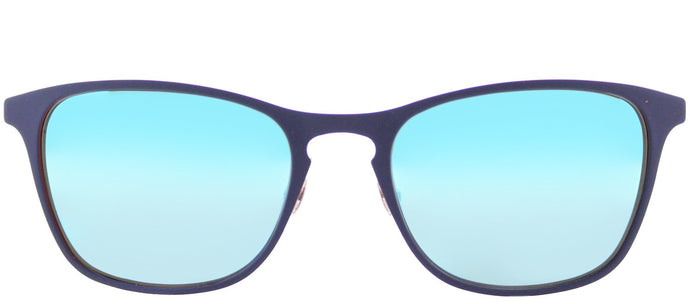 Ray-Ban RJ 9539 Square Metal Sunglasses - Rubber Blue with Blue Flash Mirror Lens