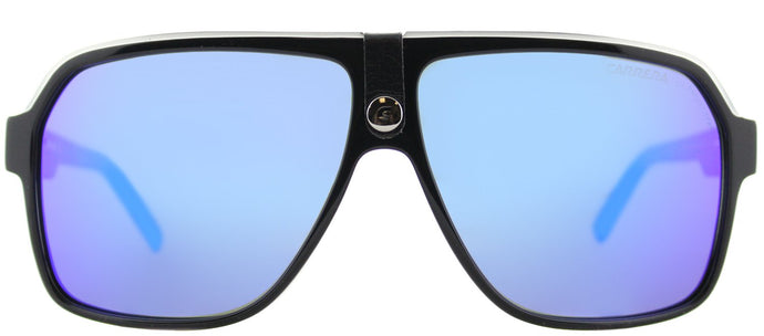 Carrera CA Carrera33 Aviator Plastic Sunglasses - Black Crystal Grey with Blue Mirror Lens