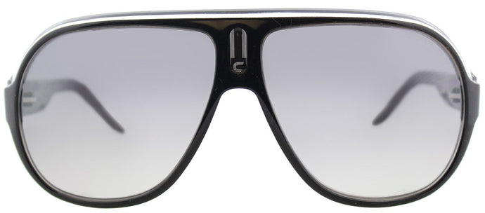 Carrera CA Speedway Aviator Plastic Sunglasses - Black Crystal Silver with Grey Mirror Shaded Silver Lens