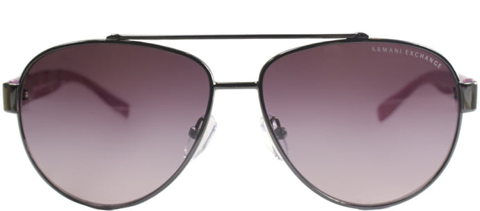 Armani Exchange AX 2010 Aviator Metal Sunglasses - Gunmetal And Pink with Burgundy Gradient Lens