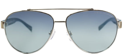 Armani Exchange AX 2010 Aviator Metal Sunglasses - Silver And Green with Blue Teal Gradient Lens