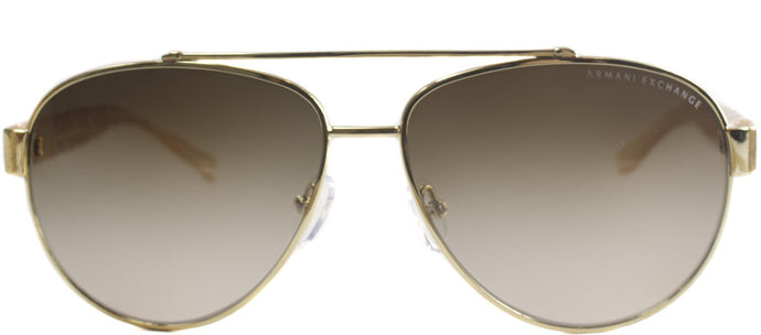 Armani Exchange AX 2010 Aviator Metal Sunglasses - Gold And Nude with Brown Gradient Lens