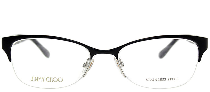 Jimmy Choo JC 106 J9B Matte Black Semi-Rimless Metal Eyeglasses