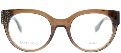 Jimmy Choo JC 136 3M0 Brown Transparent Round Plastic Eyeglasses