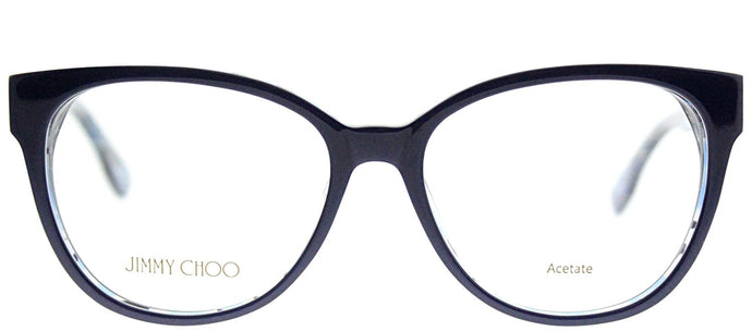 Jimmy Choo JC 141 J55 Blue Crystal Spotted Cat-Eye Plastic Eyeglasses