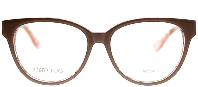 Jimmy Choo Asian Fit JC 145F J42 Nude Crystal Pink Spotted Cat-Eye Plastic Eyeglasses
