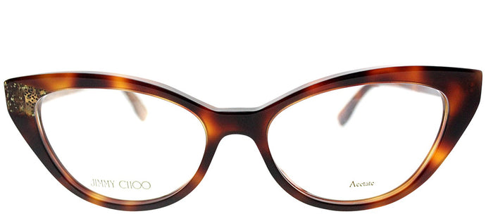 Jimmy Choo JC 149 Q9W Havana on Glitter Cat-Eye Plastic Eyeglasses