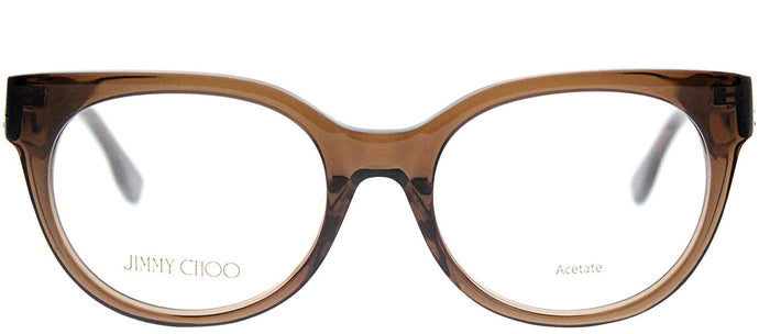 Jimmy Choo Asian Fit JC 143F 3M0 Crystal Brown Round Plastic Eyeglasses