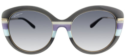 Salvatore Ferragamo SF 724S 25 Grey Azure Cat-Eye Plastic Sunglasses