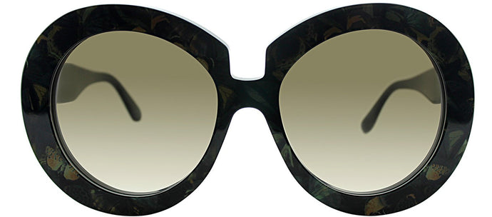 Valentino V707SB 962 Camou Butterfly Army Green Round Plastic Sunglasses