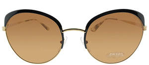 Prada PR 54SS LAX6N0 Antique Gold Black Brown Round Metal Sunglasses